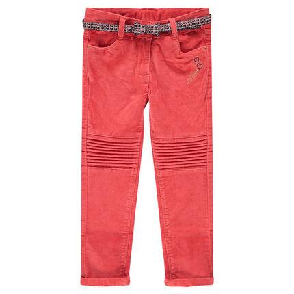 Pantalon en velours ras corail avec ceinture imprimée wax