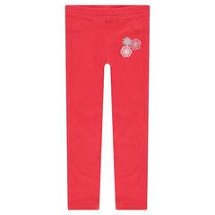 Legging en jersey rouge avec fleurs printées