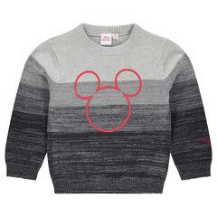 Pull en tricot avec effet de bandes print ©Disney Mickey