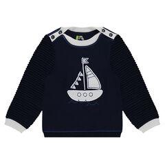 Pull en tricot forme marinière avec patch bateau en maille