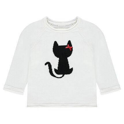 Pull en tricot avec chat en jacquard et noeud satiné
