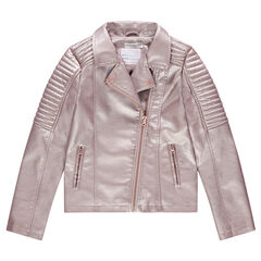 Junior - Veste en simili cuir rose irisé style motard