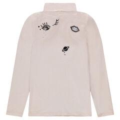 Junior - Sous-pull col roulé en jersey avec badges patchés
