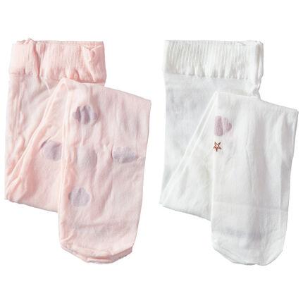 Lot de 2 collants fins avec motifs fantaisie rose clair / blanc