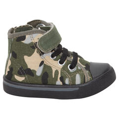 Baskets montantes en toile motif army
