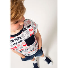T-shirt manches courtes imprimé villes all-over avec poche plaquée