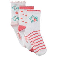 Lot de 3 paires de chaussettes avec poissons en jacquard