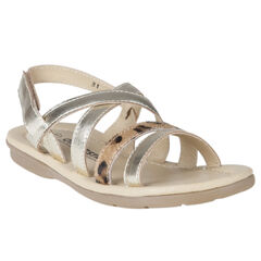 Nu-pieds en cuir doré avec bride léopard