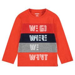 Tee-shirt manches longues en jersey avec inscriptions fantaisie