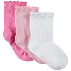 Lot de 3 paires de chaussettes unies avec bord-côte fantaisie