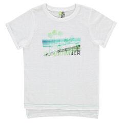 Tee-shirt manches courtes asymétrique avec paysage printé