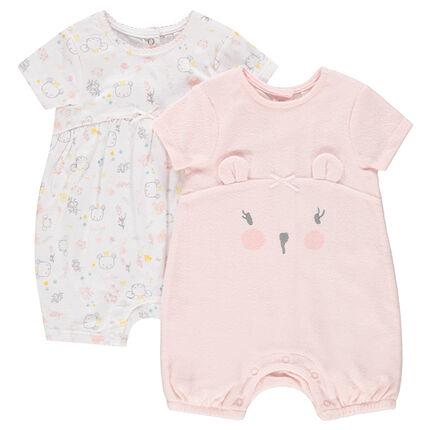 Lot de 2 combinaisons courtes jersey et éponge avec motifs koalas