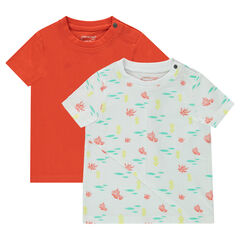 Lot de 2 tee-shirts manches courtes uni / imprimé all-over