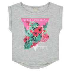 Tee-shirt manches courtes en jersey slub print fantaisie