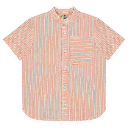 Chemise manches courtes à rayures et poche
