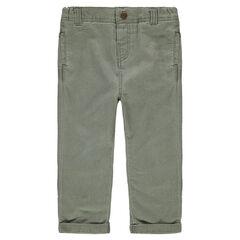 Pantalon en coton fantaisie kaki