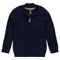Junior - Gilet côtelé en tricot slub