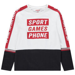 Junior - T-shirt manches longues en jersey à inscriptions printées