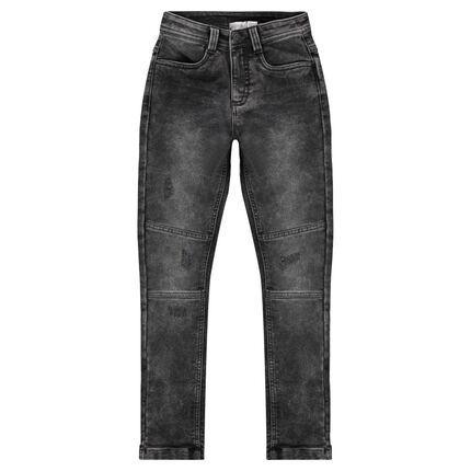 Junior - Jeans effet used et crinkle avec découpes sur les jambes