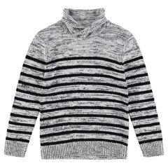 Junior - Pull en tricot col roulé avec rayures contrastées