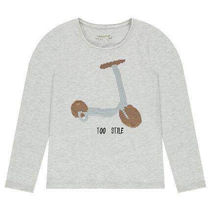 Junior - Tee-shirt manches longues avec print sequins magiques