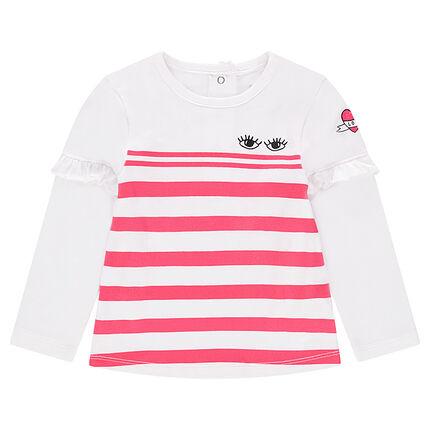 Tee-shirt manches longues en jersey avec rayures et volant sur les manches
