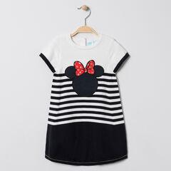 Robe manches courtes en tricot broderie Minnie Disney