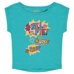 Tee-shirt manches courtes forme boîte print fantaisie