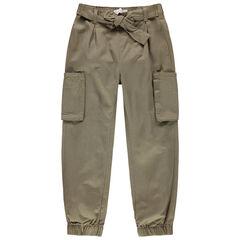 Pantalon cargo à poches et ceinture à nouer