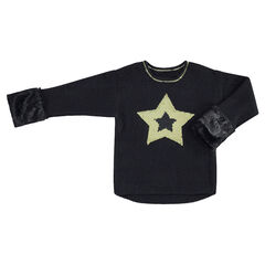Pull en tricot avec étoile en sequins magiques et fausse fourrure