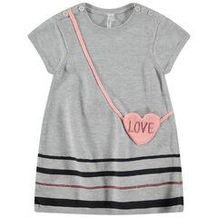 Robe manches courtes en tricot avec effet sac en bandoulière forme coeur
