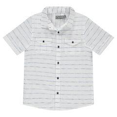 Junior - Chemise manches courtes à fines rayures avec poches
