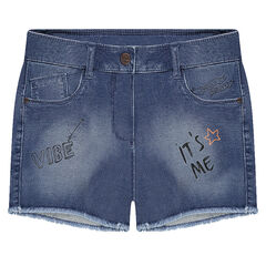 Junior - Short en denim like effet used avec fantaisies