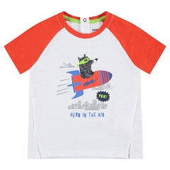 Tee-shirt manches courtes bicolore en jersey avec ours printé