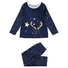 Junior - Pyjama en velours esprit Noël avec étoiles printées et renne brodé