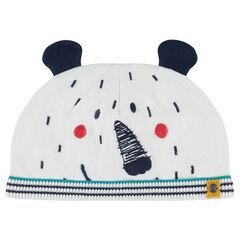 Bonnet en tricot doublé jersey avec oreilles cousues