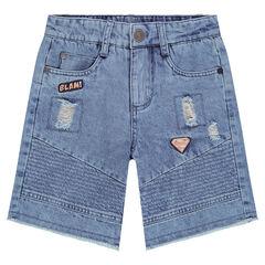 Bermuda en jeans effet crinkle avec texte printé au dos