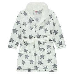 Junior - Robe de chambre à capuche en sherpa avec étoiles all-over