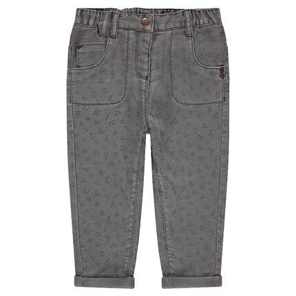 Pantalon en coton imprimé doublé jersey