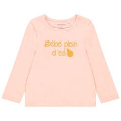 T-shirt manches longues en coton à message pour bébé fille , Orchestra