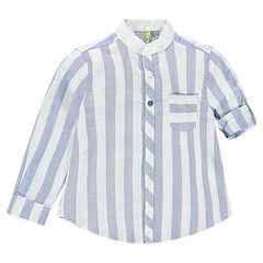 Chemise rayée avec col mao