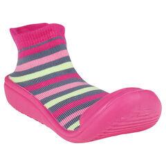 Chaussons chaussettes rayés et semelle gomme