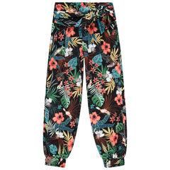 Pantalon fluide à fleurs all-over et ceinture à nouer