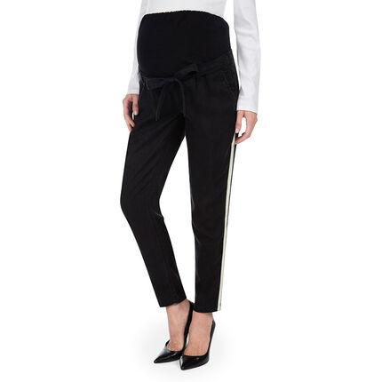 Pantalon de grossesse style chino 7/8 avec bandes contrastées