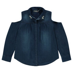 Junior - Chemise manches longues en chambray avec épaules ajourées et perles sur le col