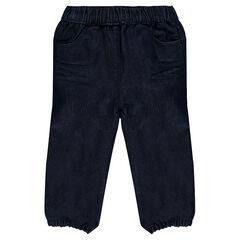 Jeans brut à taille et chevilles élastiquées