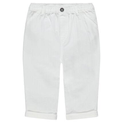 Pantalon blanc en coton uni à poches