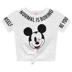 T-shirt manches courtes à inscriptions et Mickey Disney printés