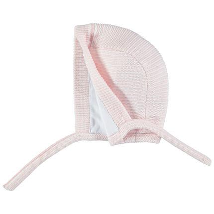 Bonnet en maille bicolore coton bio à nouer