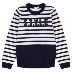 Junior - Pull en tricot à rayures et inscription en relief